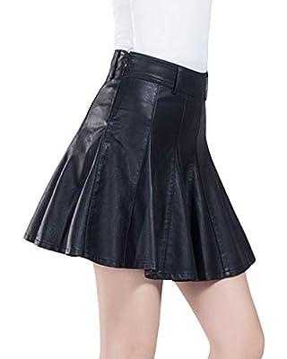 Jenkoon Women's Faux Leather Flare Pleated Mini Skater Skirt Side Zipper