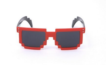 Block 8-bit Pixel Sunglasses Video Game Geek Party Favors (Red, - 8 Bit Sunglasses