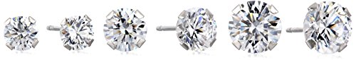 White Gold Three Prong (10K White Gold Swarovski Zirconia Round Stud Earring Three Pair Set (3 1/2 cttw))