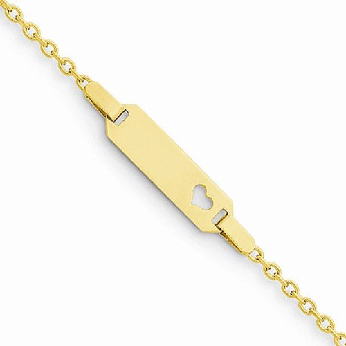 Solid 14k Yellow Gold Child's Love Heart Engravable ID Bracelet - with Secure Lobster Lock Clasp 6'' by Sonia Jewels (Image #2)