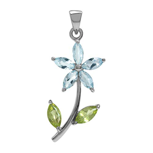 (Silvershake Genuine Blue Topaz and Peridot White Gold Plated 925 Sterling Silver Flower Leaf Pendant )