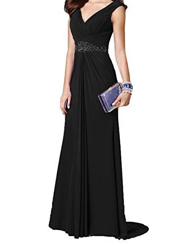 Ausschnitt Charmant Abendkleider Festlichkleider Elegant Jugendkleider V Partykleider Damen Damen Langes Schwarz Ballkleider TqgqxrX