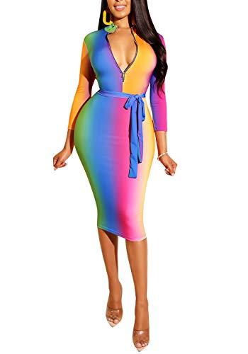 ECHOINE Women Sexy Floral Print Deep V Neck Long Sleeve Zip Bodycon Dress Club Outfits with Belt (Rainbow, S)