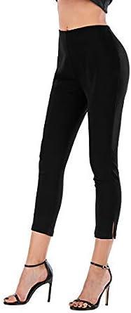 Calison Womens Elastic High Waist Capri Black Leggings