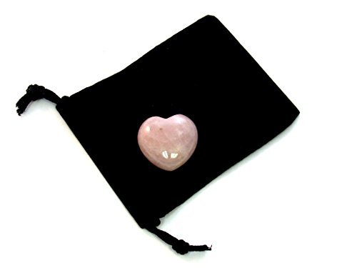 ZentronTM Crystal Collection: Rose Quartz 30MM All Natural Gemstone Crystal Puff Heart and Velvet Pouch