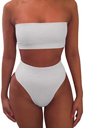 Natsuki Women's Strap Pad High Waisted Two Piece Swimsuit Bikini Set M ()