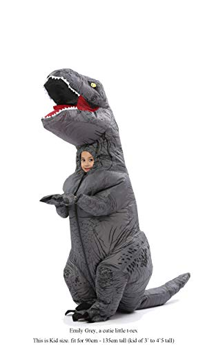 GOPRIME T Rex Costume, Dino Theme Party Dress, Dinosaur Costume (Grey Kid)