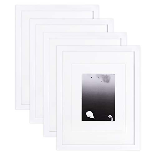 (Egofine 11x14 Picture Frames 4 PCS White - Made of Solid Wood for Table Top and Wall Mounting for Pictures 8x10/5x7 with Mat or 11x14 Without Mat Horizontally or Vertically)