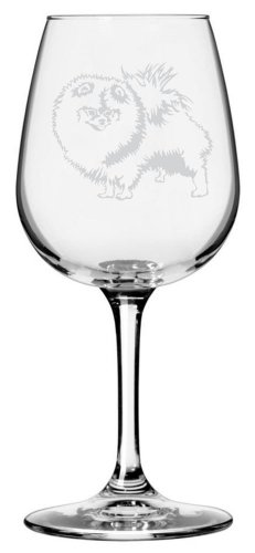 Pomeranian Dog Themed Etched All Purpose 12.75oz Libbey Wine Glass