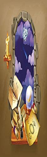 (Astrology 3D Decorative Film Privacy Window Film No Glue,Frosted Film Decorative,Medieval Ancient Castle Window with Crystal Ball Clouds Parchment Decorative,for Home&Office,23.6x59Inch Teal Grey Whit)