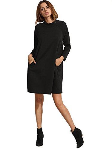 ROMWE Women's Long sleeve Ribbed Solid Pocket T-Shirt Sweatshirt Tunic Dress Black M