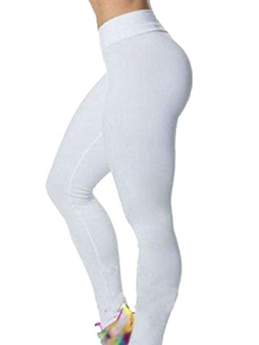 0437e46a94dc4 Womens High Waist Tights Leggings Fitness YOGA Sport Tights Running Pants  (UK 8-10, White): Amazon.co.uk: Clothing