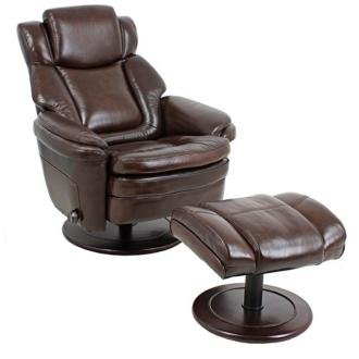- Barcalounger Eclipse II Pedestal Chair and Ottoman - Promenade Chocolate Leather / Vinyl