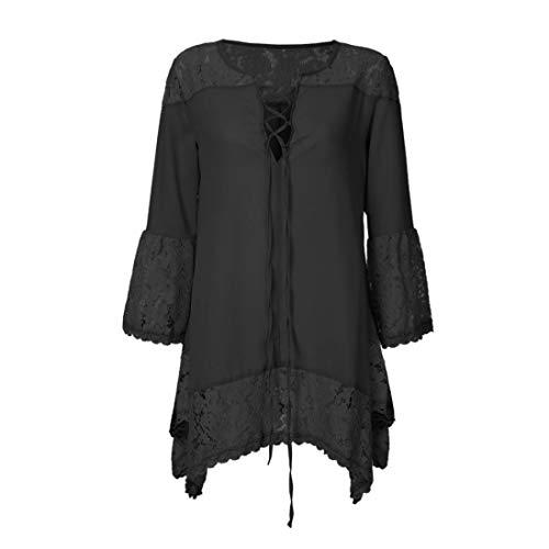 Noir Elgant imprim Manche Shirt 3 Haut Femme Dentelle Chemisier Mousseline Chic 4 Top Bringbring 1qOFRxYw