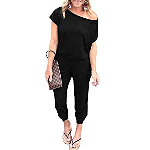 PRETTYGARDEN Women's Summer Casual Off Shoulder Short Sleeve Loose Jumpsuit Rompers with Pockets