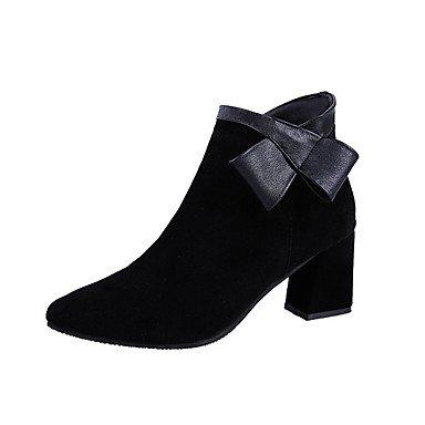Moda Para Uk5 EU36 Ue38 Casual Zapatos Chunky 5 Pu Puntera Negro 5 CN35 De Cremallera UK3 Mujer Redonda US5 Negro Us7 5 5 Invierno Botas Talón Botas Cn38 RTRY RtOqx