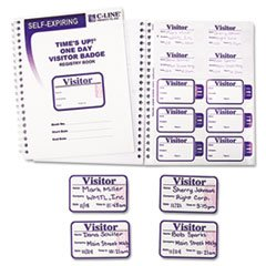 Time's Up Self-Expiring Visitor Badges w/Registry Log, 2 x 3, White, 1