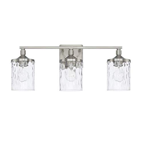 Capital Lighting 128831BN-451 Homeplace/Colton - Three Light Bath Vanity, Brushed Nickel Finish with Clear Water Glass ()
