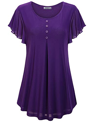 MOQIVGI Boutique Tops for Women,Purple Chiffon Blouses Lady Contemporary Designer Cute Summer Loose Fitting Layered Shirts Modest Graceful Solid Draped Swing O-Neck Flutter Sleeve Tunic Medium
