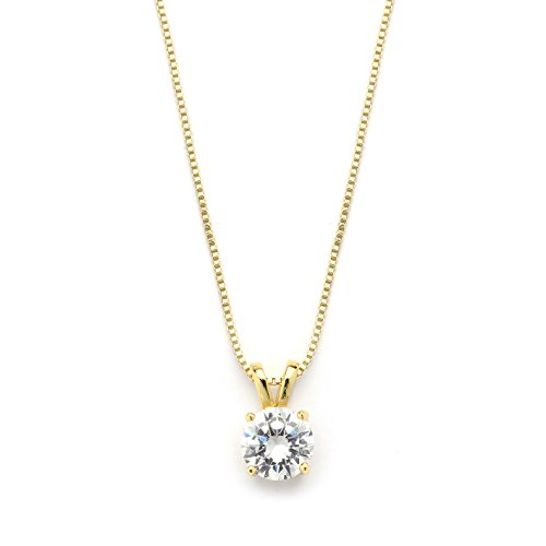 Mariell 2 Carat Round-Cut Cubic Zirconia Crystal Gold Pendant Necklace for Women, 14K Plated, 8mm CZ ()