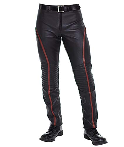 III-Fashions Victor Frankenstein James McAvoy Red Stripes Motorcycle Costume Black Leather Pants ()