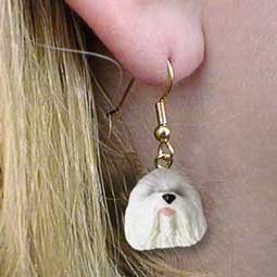 Old English Sheepdog Earrings - Conversation Concepts Old English Sheepdog Earrings Hanging