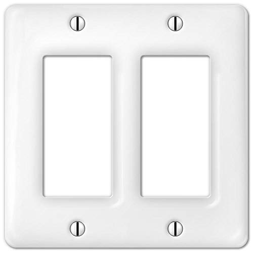 - Runwireless Porcelain Decorative Switch Plate, Wall Plate, Cover, Rectangular White, Double Rocker - 3002RR
