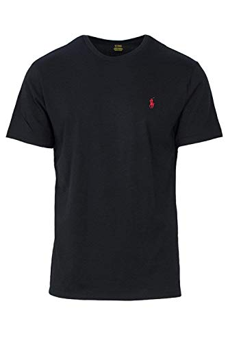 (Polo Ralph Lauren Men's Crew-Neck T-Shirt (Medium, Black (Red Pony)))