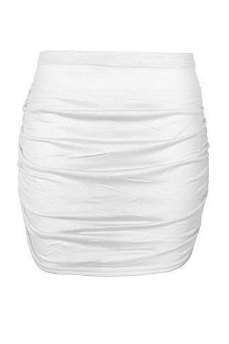 Be Jealous femmes fête mini jupe femmes uni Taille Élastique Élastique côté ruché ajusté moulant grande taille UK 8-22 - Crème, Plus Size (UK 16/18)
