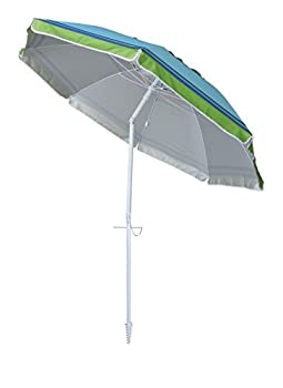 Yatio---7ft Beach Umbrella With Tilt & Integrated Long Sand Anchor,windproof, Sun Protection Spfupf100+, Bluegreen Stripe 2