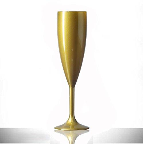 Dorado plástico policarbonato copas de champán, 12 unidades, 6.6oz, catering calidad plástico cristal - reutilización de veces | prácticamente irrompible de ...