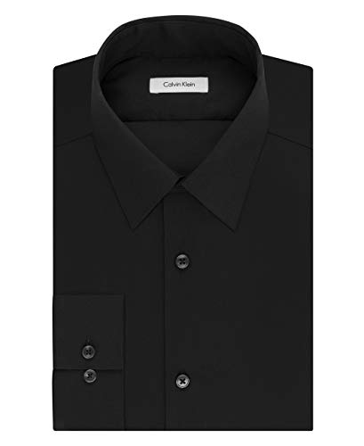Calvin Klein Men's Dress Shirt Slim Fit Non Iron Herringbone, Black, 14.5