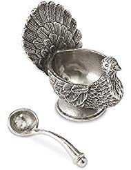 Mud Pie METAL TURKEY GRAVY BOAT SET, silver ()