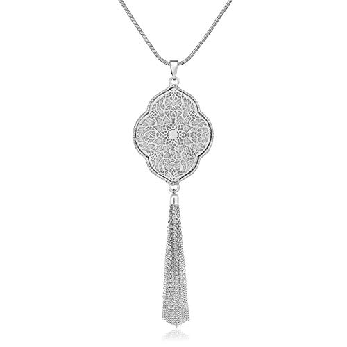 MOLOCH Long Necklaces for Woman Disk Circle Pendant Necklaces Tassel Fringe Y Necklace Set Statement Pendant (Quatrefoil-Shaped-Silver) ()