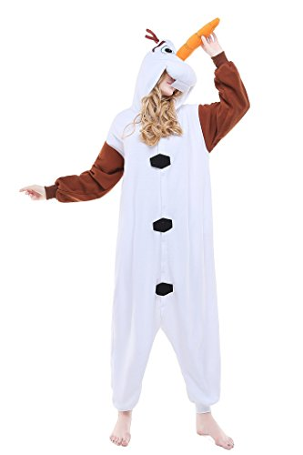 RECHASE Halloween Adult Pajamas SleepWear Animal Cosplay Costume (L, Olaf) - Olaf Halloween Costumes Adult