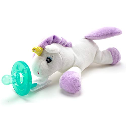 d Animal & Detachable Silicone Pacifier Baby Gift Set Paci Clip Binky Holder Gift for Baby Girls ()