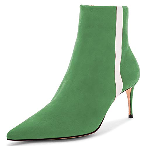 Pointed Toe Size High 4 Ankle Stiletto Dress US Booties FSJ Women Versatile Heels Shoes Green 15 FAPqEtwan