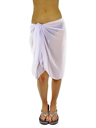 hite Knee Length Cover Up Sarong Wrap for Women (Diva Sheer)
