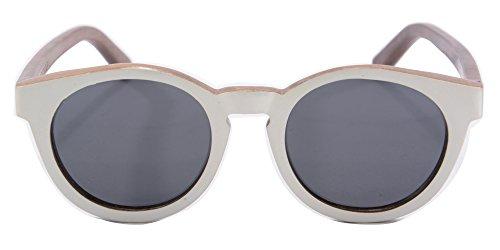 Femmes Logo Sous Vintage W092 Avec de Grey Bois Soleil SHINU Categorie Temple Lunettes Sunglasses walnut White Metal Rond qUf7SqP8