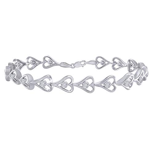 Trillion Jewels 0.22 CT (I1-I2/I-J) Natural Diamond Heart Style Bracelet 14K White Gold Finish