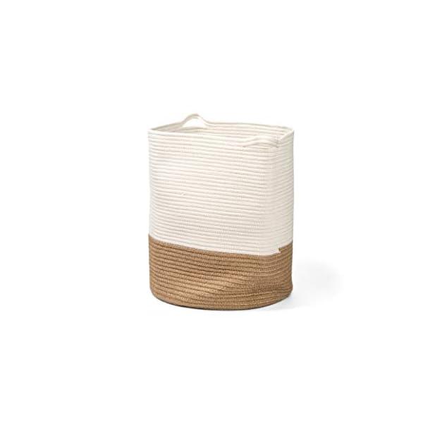 Decorative Blanket Basket White Brown