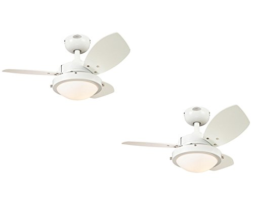 Westinghouse White Frosted Ceiling Fan - Westinghouse 7247200 Wengue Two-Light Reversible Three-Blade Indoor Ceiling Fan, 30-Inch,Opal Frosted Glass (White 2 Pack)