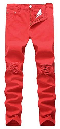 Stretch Pesante Epoca Qk Skinny Ripped lannister Dei Ragazzo Pantaloni Uomo Khaki Svago Jeans Black Modo Di Distrutto qTFI4F