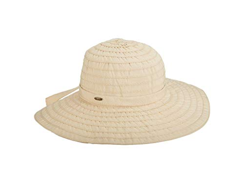 SCALA Women's Sewn Ribbon Crusher Hat, Natural, One Size
