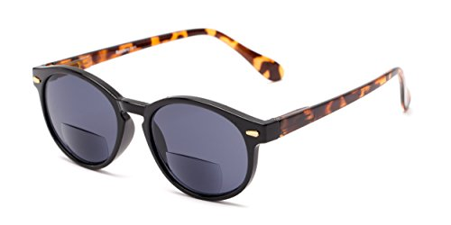 Readers.com The Drama Bifocal Sun Reader +2.25 Black/Tortoise with Smoke Round Tortoiseshell Bifocal Reading Sunglasses Reading Glasses (Bifocal Reading Sunglasses)
