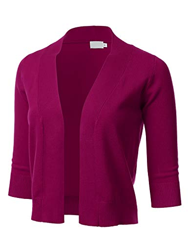 (Women's Classic 3/4 Sleeve Open Front Cropped Cardigan Magenta)