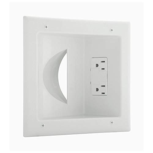 Eaton 35M2S-W 15-Amp 2-Pole 3-Wire 125-Volt Media Sync Multimedia Cable Management Wall plate with Recessed Duplex Surge Protection Receptacle, White