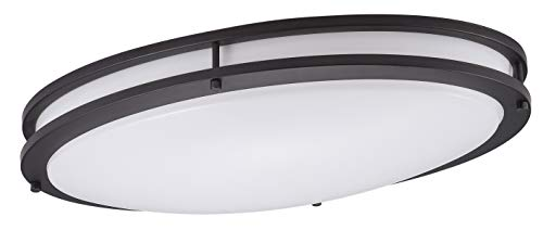 Cloudy Bay LED Flush Mount Ceiling Light,24 Inch 3000K Warm White,28W Dimmable,Oil Rubbed Bronze Oval Lighting -