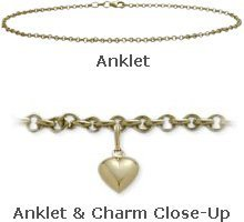 14K 10'' Yellow Gold Belcher Style Anklet with 9mm Heart Charm by Elite Jewels