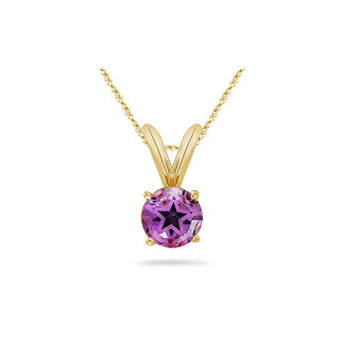2.95 Ct 9 mm AA Texas Star Amethyst Solitaire Pendant in 14KY Gold - Valentine's Day Sale